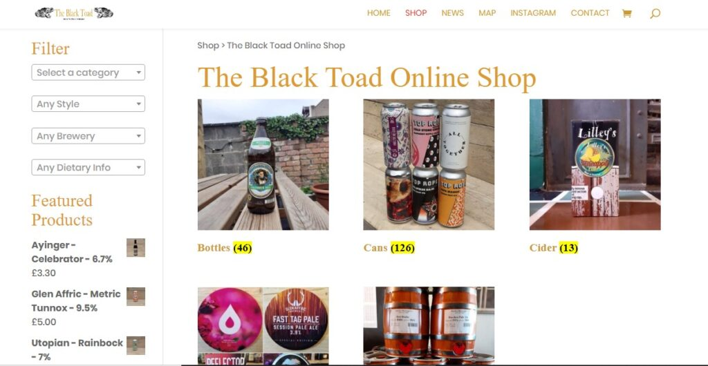 The Black Toad Online Shop - Now Open for browsing and ordering.
